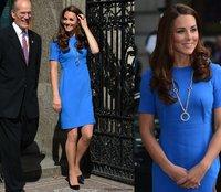 2012 autumn&winter Europe Celebrity princess Kate Middleton Fashion blue Ladies' short Sleeve Vintage career Slim Dresses kt012