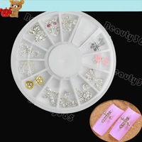 New 12pcs Alloy DIY 3D Mix Nail Rhinestone Colorful Jewelry Pattern Glitter  Nail Art Decoration Wheel D Type 6391