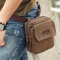 For men Casual male waist pack messenger bag 100% cotton canvas multifunctional small bag fashion