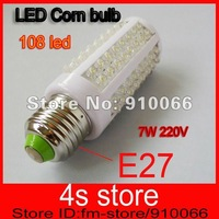 Low consumption.7W 108 LED Corn Energy Saving Light Bulb Lamp E27 220V White/Warn White 5pcs/lot