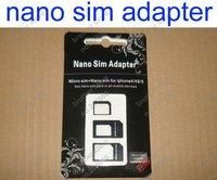 3 in 1 Nano Sim Card Adapter ,  micro sim adapter Black package for iPhone 5   (300pcs) 100set / lot