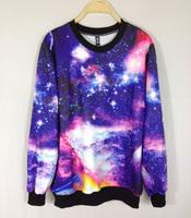 Fashion HARAJUKU women's galaxy autumn and winter pillow collar sweatshirt outerwear / galaxy women jacket