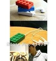 Free Shipping! Retail 1 piece x Building Block MP3 player with TF Card Slot mp3+playbrick earphone+usb cable