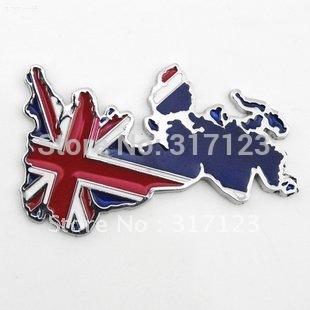 (20 pieces/lot ) Wholesale New 3D Metal United Kingdom British Flag Stickers Decals For Car / Auto Chrome Car Emblems