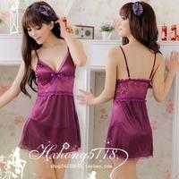 Sleepwear female nightgown viscose glossy suspender skirt lace sleep set lounge 2