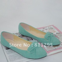 HOT Selling 2012 pointed toe candy color bow single shoes flat heel female shoes free shipping