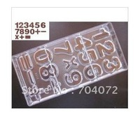 wholesale- free shipping 27.5*13.5*2.4CM PC chocolate mold figure numbers shape and math