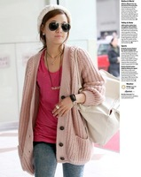 Free Shipping Casual Loose Long Sleeves Sweaters Cardigans Thickening Sweaters Fashion Women's Sweaters Cardigans Pink