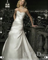 Trendy Strapless Sweetheart Beaded Satin Chapel Train A-line Gown 2012 Wedding Dress Style : 26648 O19