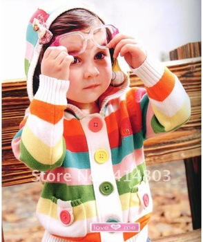 3pcs/2 Colors Wholesale Kids Knitted Striped Cardigan Sweater, Girls/ Boys Crochet Coats Outerwear Baby Clothing Free shipping