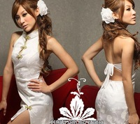 Sexy sleepwear school wear princess mounted uniforms game service white sexy cheongsam set