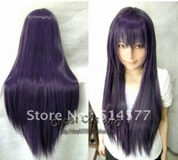Trepley  Cosplay Wig Long Purple Black Straight Wigs Free Shipping