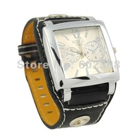 Men's Women's Fashion Wrist Watch Square Face Black PU Analog Quartz Watches Wristwatch Wristwatches