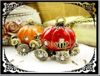 Free Shipping! 2015NEW Cinderella crown pumpkin carriage long necklaces Cartoon sweater chain Red/Orange