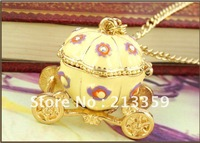 Free Shipping for Fashionable design colorful enamel operable Pumpkin car necklace jewelry, hot, newest!!!