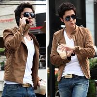 Hot sale suede fabric stand collar men short jacket