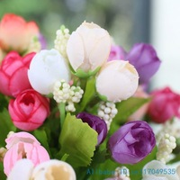 1 PCS Beautiful Mini Silk Roses Bouquets Artificial Flowers Home Decoration 3 Colors Available F88