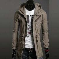 Free shipping!Men fahison classic military medium-long hooded jacket casual outerwear jk01