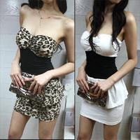 Free shipping Tube top tube top one-piece dress leopard print slim hip sexy elegant tight dress