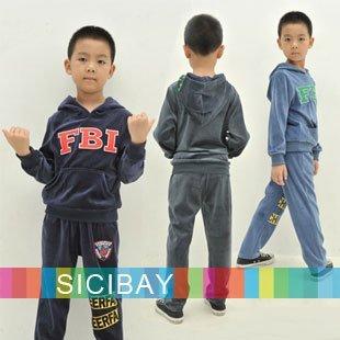 Boys Winter Clothing Velvet Clothing Suit Cool Letter FBI Design Hooded Pockets Set,Free Shipping  K0197
