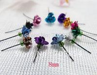 8mm mini Rose flower Decoration for Rice Vial Glass/Wishing Bottle Charm Pendant/100pcs