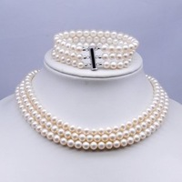 Fine pearl jewelry set  white 3 strands 7-8mm cultured pearl necklace  freshwater pearl set + Drop Shipping Free Shipping
