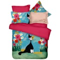 home 100% cotton slanting stripe reactive printed bedding sets cartoon bed sheets