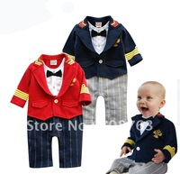 New Style Red Bowknot Gentleman Ties Rompers Suits Sets Long Sleeves With Collar For Infant Kids Boys Wholesales 1 Pack 4PCS
