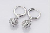 A88158 Fashion white/purple black zircon 18kt white gold filled earrings free gift Zircon earrings