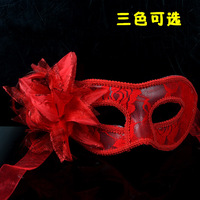 free shipping 20pcs/lot Handmade mask lace fabric with flower decoration for dancing party