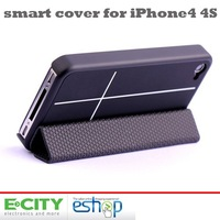Free shipping 5pcs Magnetic Smart Cover Case Bumper Stand For iPhone 4 4S With Retail Package