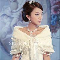 Free shipping  fashion white real  bridal wedding  shawl