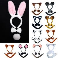 free shipping wholesale 10pcs/lot Whitecat ear mouse monkey rabbit cow flower tiger ear hair bands child animal piece set