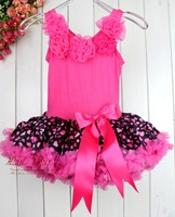 New Year Girl Dress HOT Pink Leopard Child Petti Dress 5PCS/LOT Holiday Dresses For Girls  TD21013-04^^LM