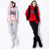 Women Fleece Plus Size Sport Hoodies Pants Waistcoat 3 Pcs Set Lady Winter Casual Suit Hooded Vest Leisure Warm Sweatshirt Pants