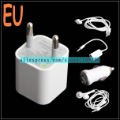 Free Shipping Car Charger/ Travel Charger/ Earphone/ USB Cable/ Earphone Converter 5-in-1 Kit for iPhone 4S/ 3GS/iPod EU Plug