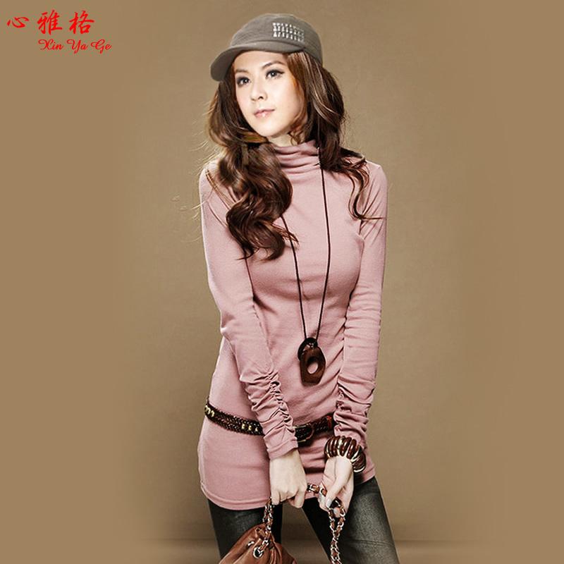 clothing-mm-slim-long-sleeve-T-shirt-female-long-design-turtleneck