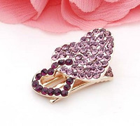 C023 hair accessory popular hair accessory side-knotted clip hairpin hair pin rhinestone crystal hairpin love