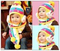 Free shipping1Piece100%Cotton Winter baby cap models cartoon rabbit children baby wool the rainbow hat + rainbow  Knitting