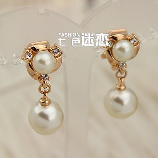 Holidy Sale elegant 18k gold filled new fashion pearl ear clip earring E028(China (Mainland))