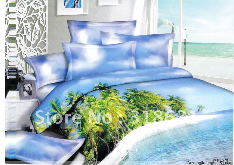 yellow green beach palm trees sea full/queen sky blue bedding set comforter sets 5pcs quilt/duvet cover set with inside filler(China (Mainland))