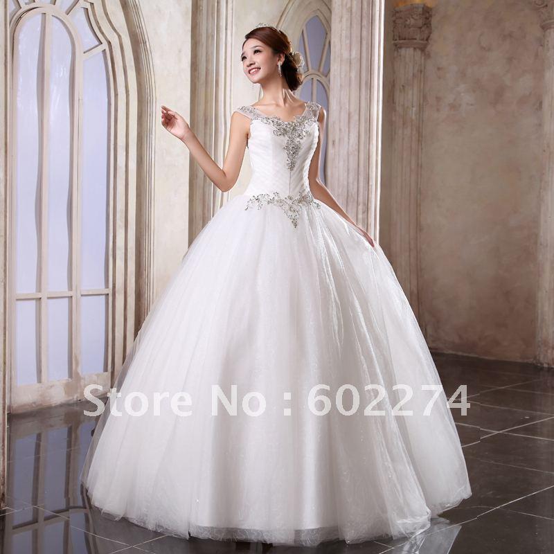 2013 New Arrival Sweet Princess Halter Neck Studded Wedding Dress Free Shippi