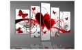 5pcs/ set red love heart Butterfly POP Modern HOME decoration wall art oil painting on canvas oil paintings Discount C01