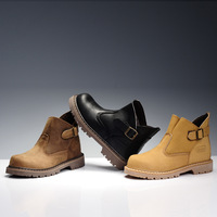 2012 Fashion trend Unisex Ankle boots genuine leather denim / vintage low boot slip-on Round toe men/women winter shoes 36-44