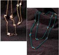 NE6 New   oil four leaf clover women's long design necklace for woman  wholesale charms TN-8.81 40D  abc