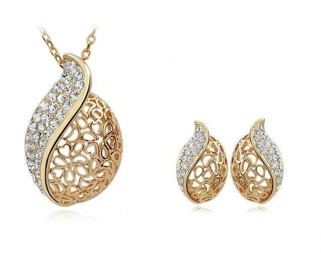 Gold Leaf Jewelry ol Jewelry Set Hollow Leaf