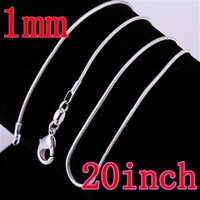Promotion 10% OFF  Wholesale 10PCS 925 Sterling Silver 1mm 20inch Snake Chain Necklace Fashion Jewelry High Quality