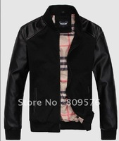Men fashion latest design lether jacket,stand-collar men coat.PU+knitting inside.