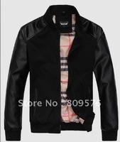 Men fashion latest design lether jacket,stand-collar men coat.PU+knitting inside.