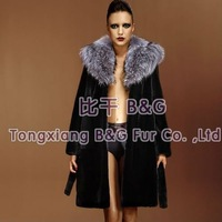 BG22233-1 100% Real Sheared Rex Rabbit Fur Long Clothes For Russian(Highly Similar To Mink Fur Coat) OEM Wholesale